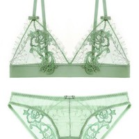 Plus Size Push Up Bra Sets Ultra thin Sexy Full Lace Eyelash Flower Wire Free Bra and Panties Intimates Embroidery Underwear