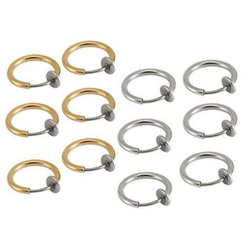BodyJ4You Fake Clip On Earrings Value Pack Goldtone Set Non Piercing Hoop Earring