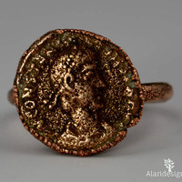 Genuine Roman Coin Ring #2 - Emperor Contantius II 337 - 361AD - Electroformed in Copper Size 7.25