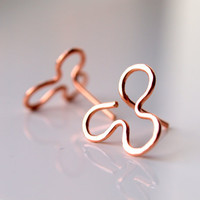 Clover earrings, trefoil, three petals shamrock, rose gold filled earrings, hand forged, hammered, textured finished