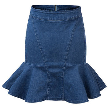Blue High Waist Denim Mini Bodycon Fishtail Skirt