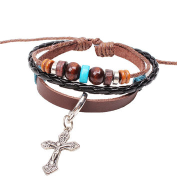 NEW Cow Leather Christian Jewelry Women Men Handmade Beads Urban Fashion Cross Women Charm Bracelets