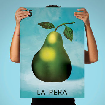 Loteria La Pera Mexican Retro Illustration Art Print Vintage Giclee on Cotton Canvas and Paper Canvas Poster Wall Decor