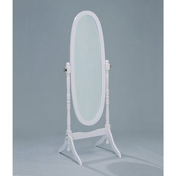Oval Cheval Floor Mirror in White Finish