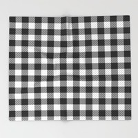 Sleepy Black and White Plaid Throw Blanket by RichCaspian