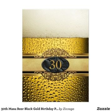 30th Mans Beer Black Gold Birthday Party Personalized Invitation from Zazzle.com