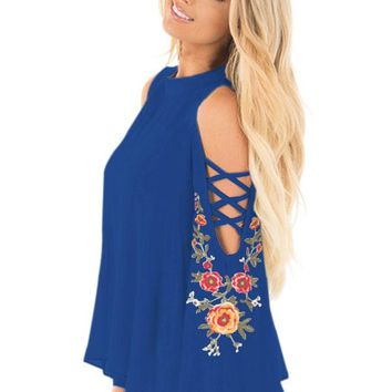 Blue Embroidered Crisscross Bell Sleeve Blouse