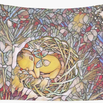 'stained glass newborn baby ' Wall Tapestry by GiftDesigns