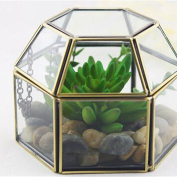 Vintage Hexagonal Glass Box and Garden Glass Terrariums/Glass Jewelry Gift Boxes for Wedding and Home Decoration