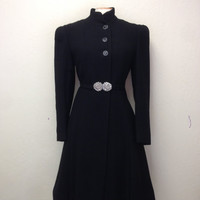 Vintage 30s Wool Coat Gatsby Art Deco Princess Coat with gorgeous silver flower belt buckle HOURGLASS Shape BR-92