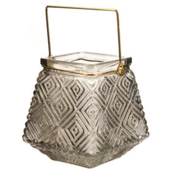 Geometric Glass Lantern with Square Handle | Hobby Lobby