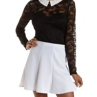 Black Lace Yoke Top with Contrast Collar by Charlotte Russe