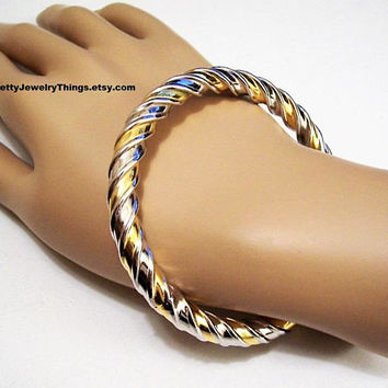Swirl Ribbed Bracelet Bangle Silver Gold Tone Vintage Large Raised Ribbed Open Graduated Wrist Ring