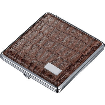 Visol Talos Brown Leather Double Sided Cigarette Case