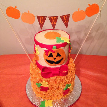 ONE Cake Topper Garland, Fall First Birthday Bunting, Our Little Pumpkin Party, Harvest Party Banner,Thanksgiving