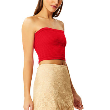 Lady Danger Red Cotton Tube Top