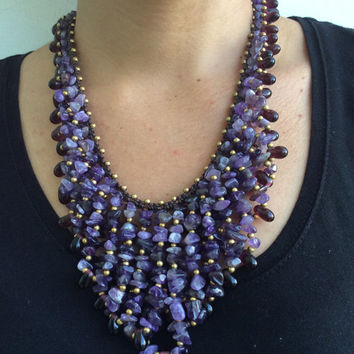 Amethyst Necklace - Amethyst Bib Necklace - Amethyst Gold Jewelry - Purple Woven Bib Necklace - Hemp Bib Necklace - Amethyst Gold Necklace