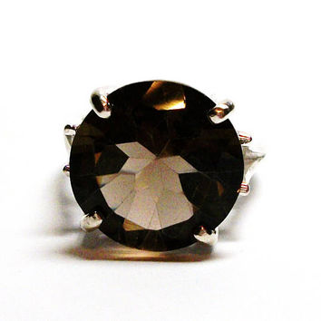 "Smokey quartz, smokey quartz ring, statement ring,  solitaire ring, brown ring, brown,  s 6 1/2  ""Dark Chocolate"""
