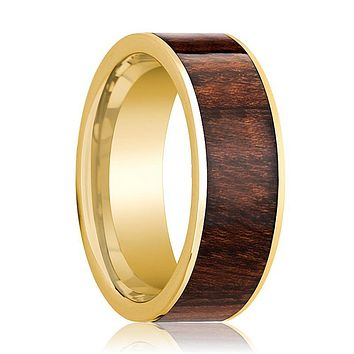 Mens Wedding Band 14k Yellow Gold Polished Flat Wedding Ring with Carpathian Wood Inlay  - 8mm