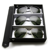 Limited Edition Classic Metal Military Aviator Sunglasses + Travel Case 1041