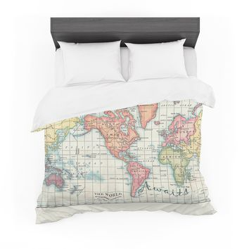 """Catherine Holcombe """"Adventure Awaits World Map"""" Beige Pink Mixed Media Vintage Travel Featherweight Duvet Cover"""