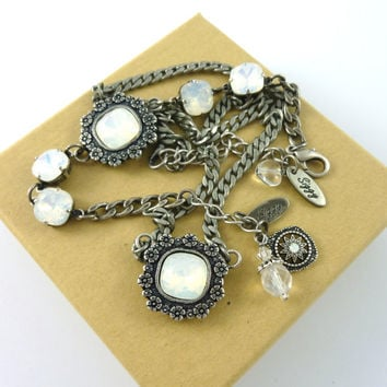 Victorian style Swarovski elements white opal jewelry set, 10mm and 12mm cushion cut crystals in antique silver, Siggy Jewelry