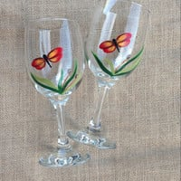 Hand Painted Wine Glasses with Red Dragonflies Set of Two