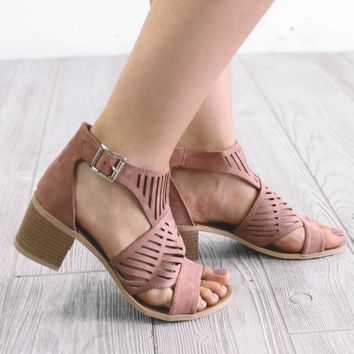 Right Timing Mauve Side Buckle Heels