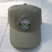 Wild & Free Patch On Grey Adjustable Baseball Hat