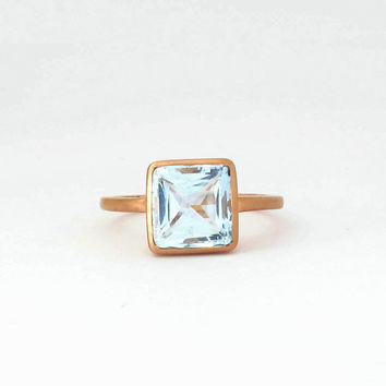 Aquamarine 14k rose gold ring  handmade bezel ring (silk finish) . Payment Plan is available (model-WARGRB001)