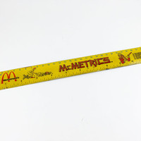 Vintage McDonalds Ruler McMetrics Ruler McDonalds Advertising Yellow Ruler Metric Ruler Ronald McDonald Yellow Red Kitschy Kitschy  Decor