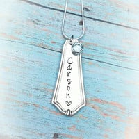 Up cycled Spoon Necklace - Personalized - Hand Stamped - Silver Spoon - Vintage - Birthstone - Hand Made