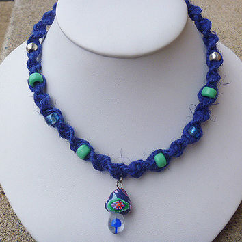 Blue Spiral Hemp Necklace with Glass Fimo Green  Mushroom Pendant and Crow Beads