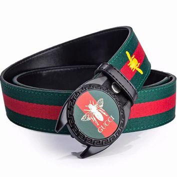 GUCCI Fashion New Bee Print Embroidery Bee Red Green Stripe Women Men Belt Width 3CM