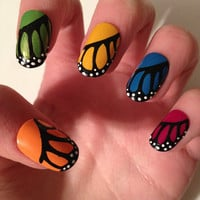 Butterfly Wing Acrylic Nails