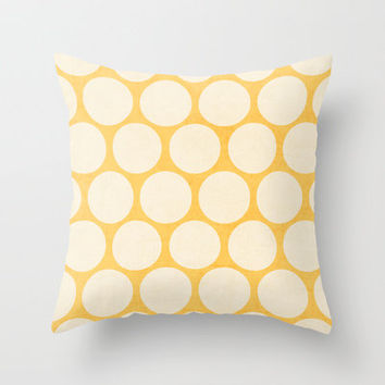 yellow and white polka dots Throw Pillow by her art