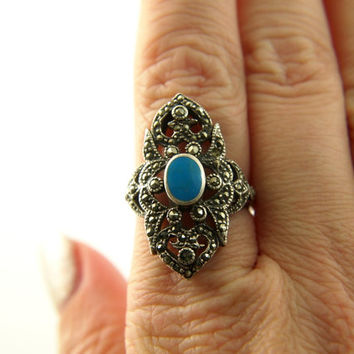 Turquoise Marcasite Ring - Sterling Silver - Vintage
