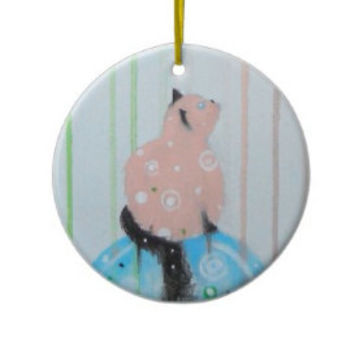 Christmas Cat Ornament PERSONALIZED Hello Pink Kitty Pets Animals Cats Kittens Gift Tag Christmas Holiday Gifts Home Decor Decorations
