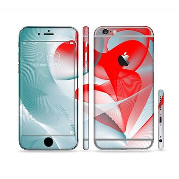 The Abstract Teal & Red Love Connect Sectioned Skin Series for the Apple iPhone6s Plus