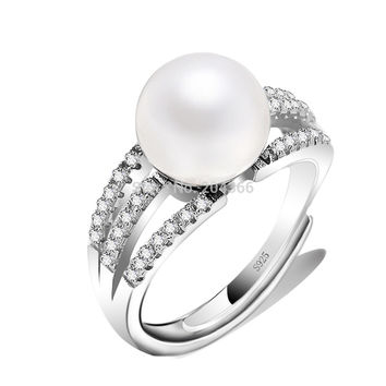Elegant Freshwater Pearl Ring 925 Sterling Silver Unique Statement Jewelry