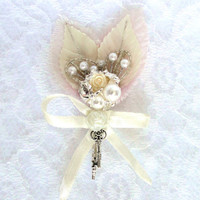 Rhinestone and Pearl Boutonniere in Ivory (or White) and Blush Pink Vintage Leaves Silver Plated With or Without Skeleton Key & Bow