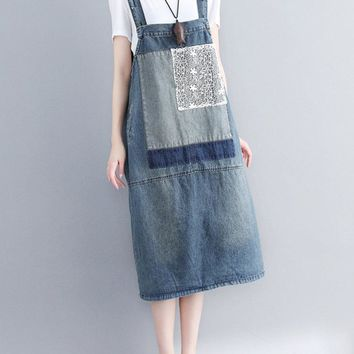 Casual Denim Patched Straps Dresses