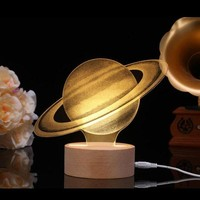 3D Night Light LED Desk Table Lamp Chriatmas Gift Bedroom Home Decor Moon Saturn Light