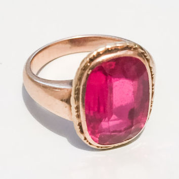 Edwardian Pink Red Spinel Ring, European Gold 585, 14K Gold, Vintage Jewelry, CHRISTMAS SALE