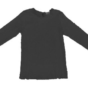 Black Laced Collared Long Sleeve Top