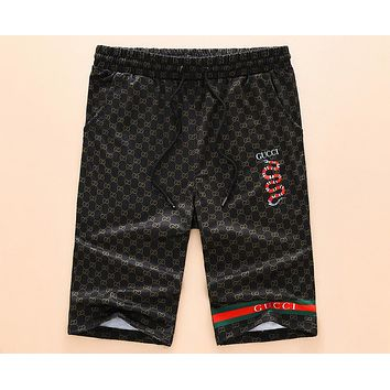 GUCCI 2018 summer new men's sports five pants thin shorts F-A00FS-GJ Black