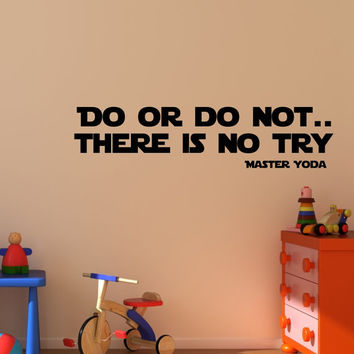 Medium Master Yoda quote  wall decal art vinyl lettering sticker Do or do not there is no try