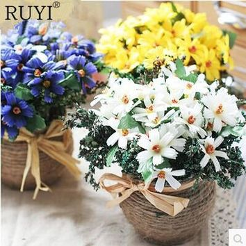 Cute Daisy 1 set ( flower + vase ) artificial flower 4 colors silk flower home decoration for wedding