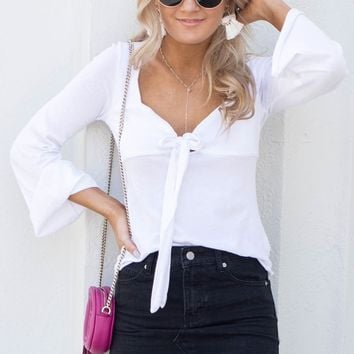 CHASER Sweetheart White Bell Sleeve Top