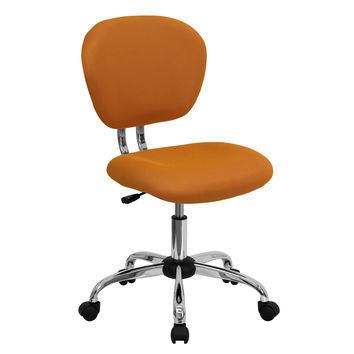Mid-Back Orange Mesh Swivel Task Chair with Chrome Base